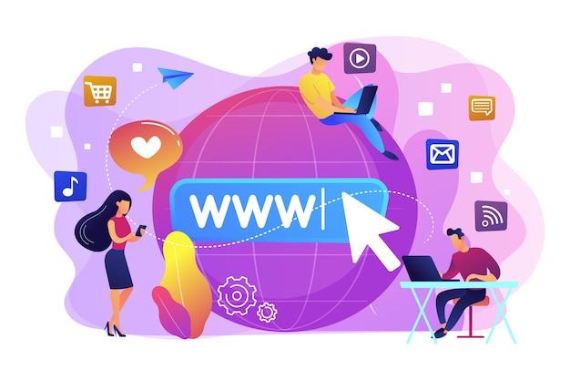 Pequeños empresarios con dispositivos digitales en el gran globo navegando por internet. adicción a internet, sustitución de la vida real, concepto de trastorno de vida en línea. ilustración aislada violeta vibrante brillante vector gratuito