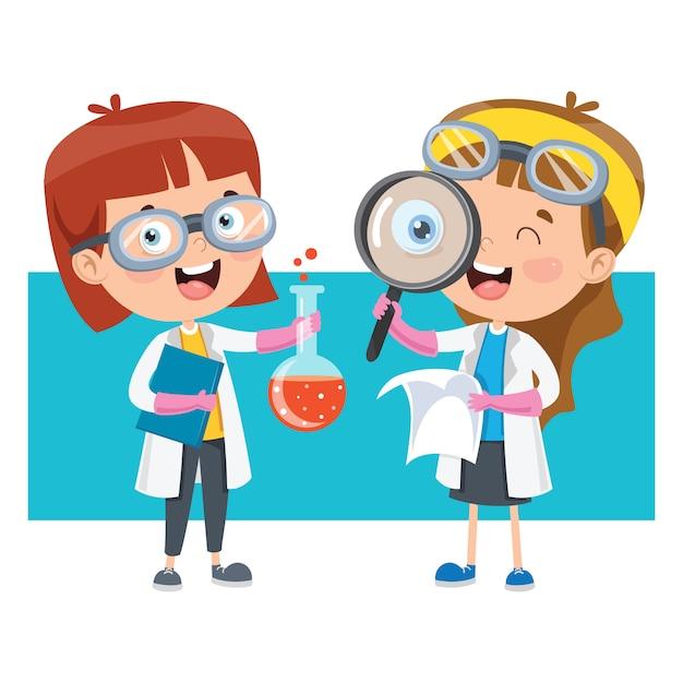 Pequeños estudiantes haciendo experimento químico Vector Premium
