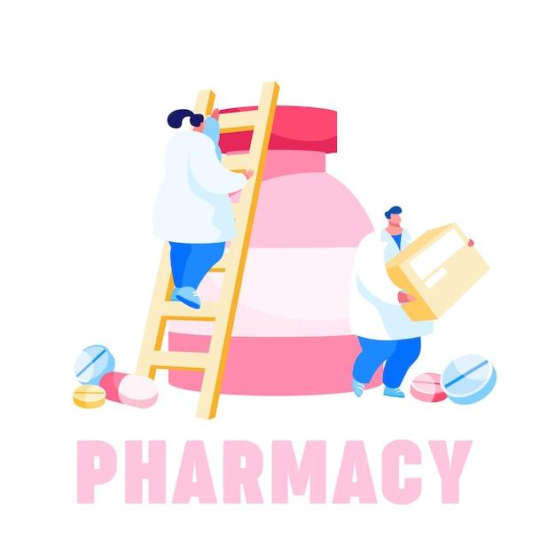 Pequeños personajes farmacéuticos que se suben a una enorme botella de medicina Vector Premium