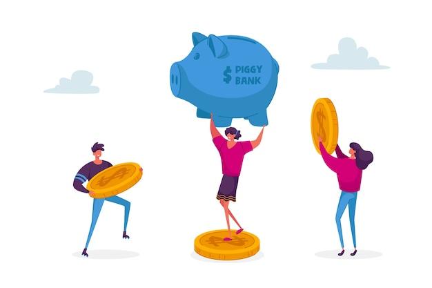 Pequeños personajes masculinos y femeninos ponen monedas de oro en una hucha enorme. Vector Premium