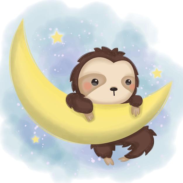 Perezoso adorable colgando en la luna ilustración para decoración infantil Vector Premium