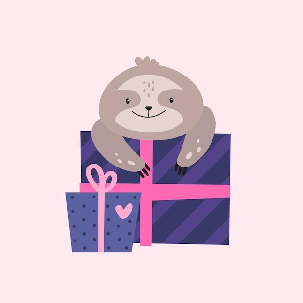 Perezoso de cumpleaños con caja de regalo. Vector Premium