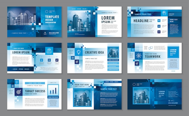 Perfil corporativo, plantilla de diseño de catálogo de presentación comercial Vector Premium