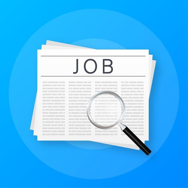 Periódico de búsqueda de empleo. entrevista de reclutamiento Vector Premium