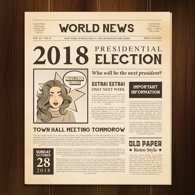 Periódico página realista vintage vector gratuito