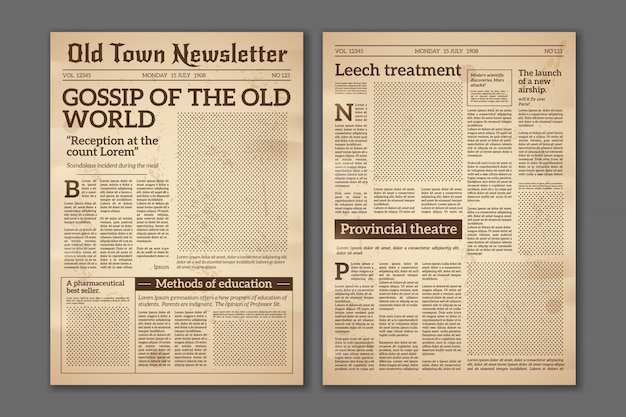 Periódico vintage. artículos de noticias periódico revista diseño antiguo. folleto de páginas de periódicos. plantilla de grunge de papel retro diario vector Vector Premium