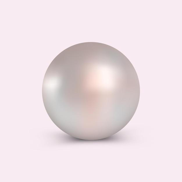 Perla para uso en cosméticos publicitarios y joyería. Vector Premium
