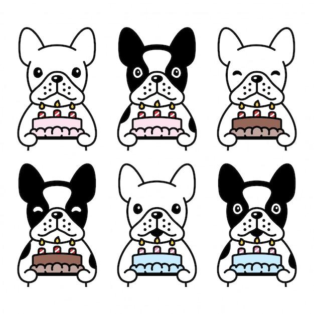 Perro bulldog francés icono pastel de cumpleaños mascota dibujos animados Vector Premium