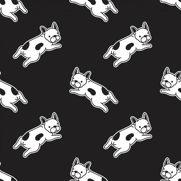 Perro bulldog francés ilustración de patrones sin fisuras Vector Premium