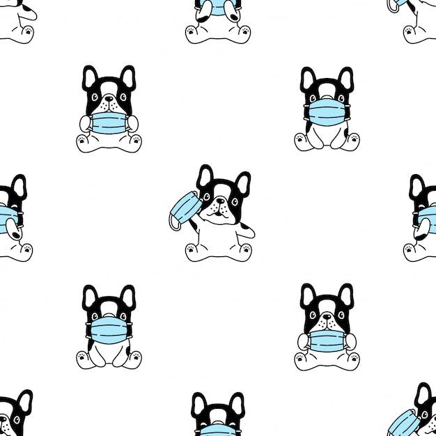 Perro bulldog francés mascarilla covid-19 coronavirus de patrones sin fisuras Vector Premium