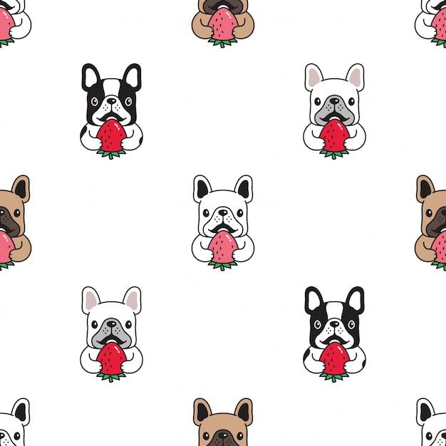 Perro bulldog francés de patrones sin fisuras fresa Vector Premium