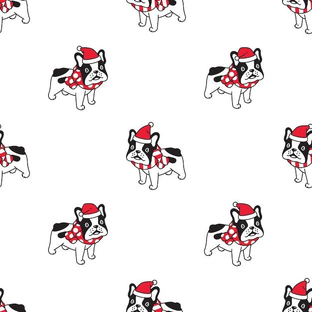 Perro bulldog francés de patrones sin fisuras navidad santa claus sombrero bufanda Vector Premium