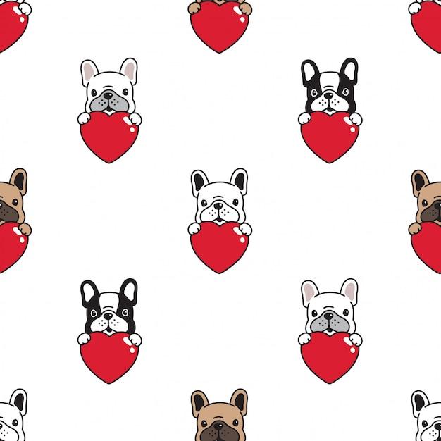 Perro bulldog francés de patrones sin fisuras Vector Premium