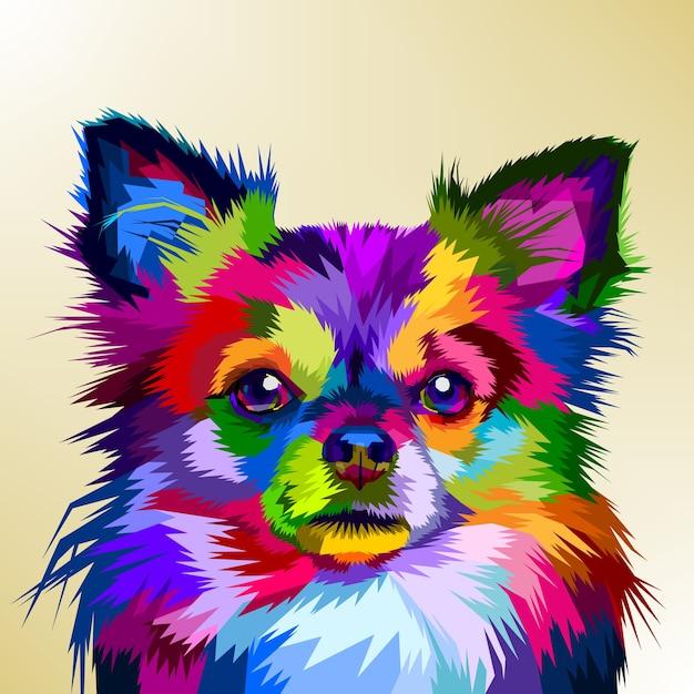 Perro chihuahua colorido en estilo pop art Vector Premium