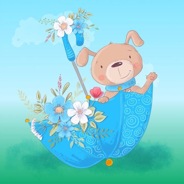Perro de dibujos animados lindo en un paraguas con flores Vector Premium