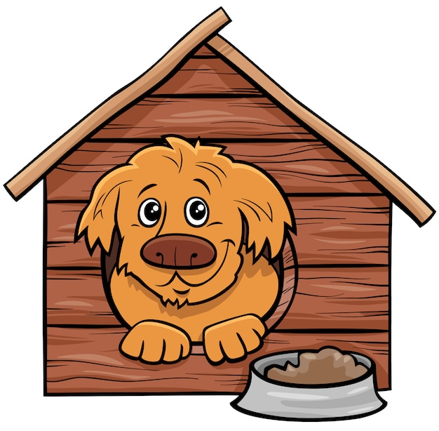 Perro de dibujos animados personaje animal cómico en caseta de perro Vector Premium
