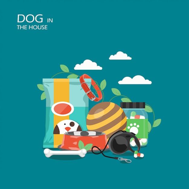 Perro en la escena de la casa Vector Premium