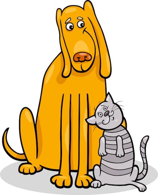 Perro Y Gato En La Ilustración De Dibujos Animados De Amistad