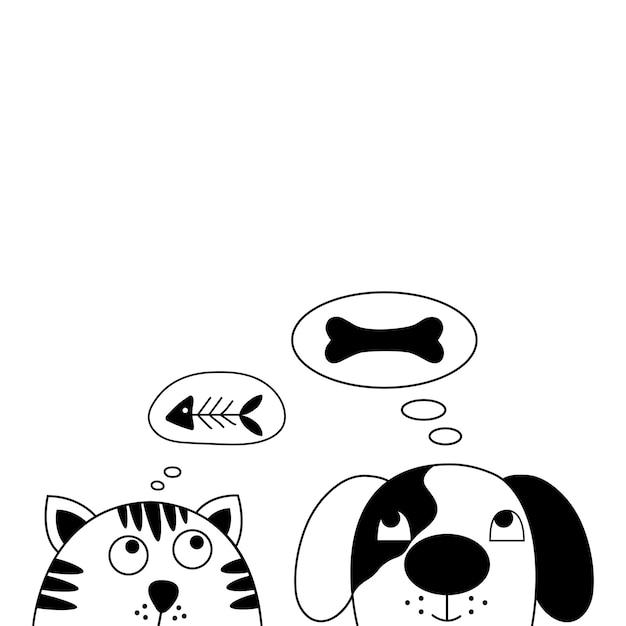 Perro y gato mejores amigos. Vector Premium