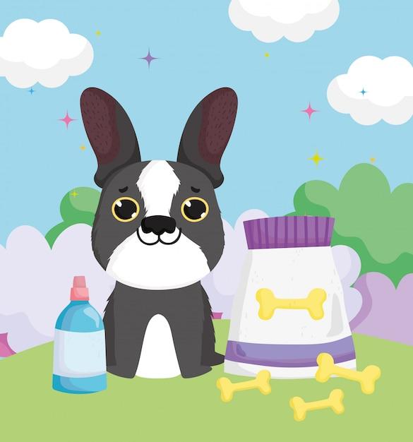 Perro con huesos empacar comida y biberón mascotas Vector Premium