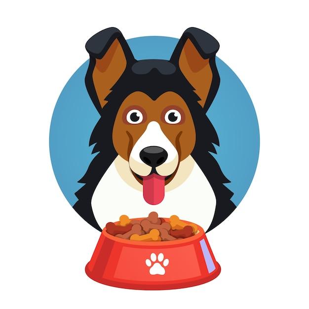 Perro mascota cara con tazón rojo lleno de alimentos vector gratuito