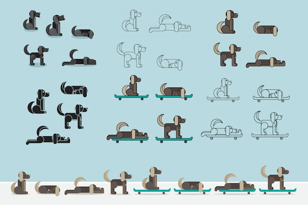 Perro con patineta. conjunto de cachorros. símbolo veterinario icono de entrega ilustración vectorial Vector Premium