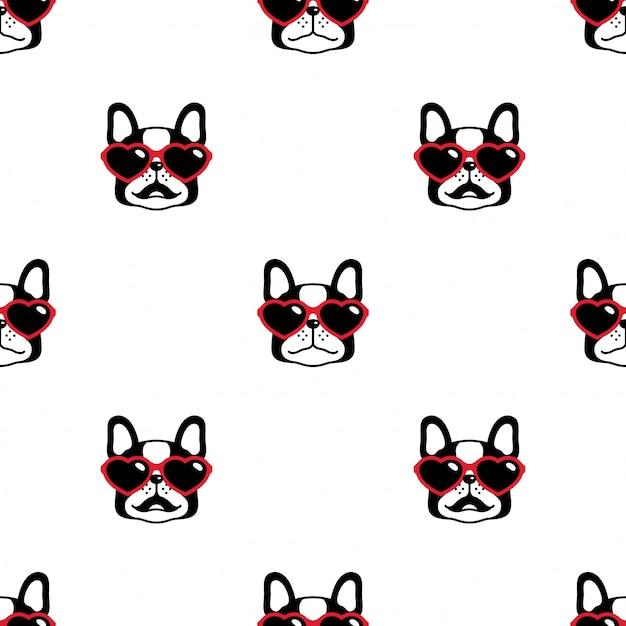 Perro de patrones sin fisuras bulldog francés corazón gafas de sol de dibujos animados Vector Premium