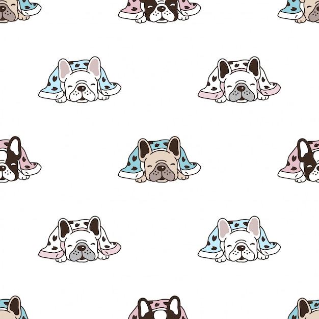 Perro de patrones sin fisuras bulldog francés durmiendo cartoon Vector Premium