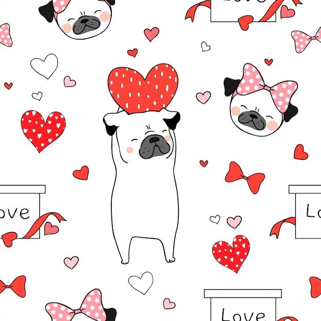 Perro de pug de patrones sin fisuras con corazón rojo para san valentín Vector Premium