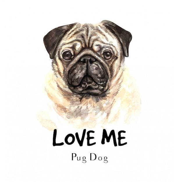 Perro pug retrato para impresión Vector Premium