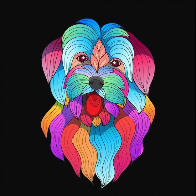 Perro de raza maltesa colorido vector estilizado Vector Premium