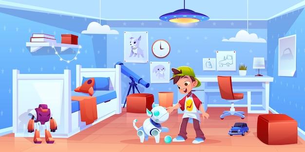 Perro robot y niño jugando en casa vector gratuito