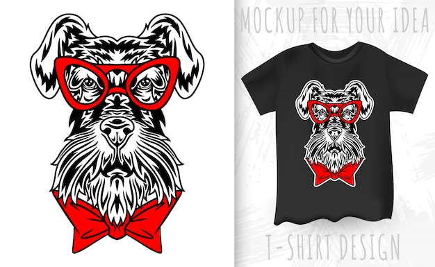 Perro schnauzer miniatura cara estilo retro. idea de diseño para estampado de camiseta en estilo vintage. Vector Premium