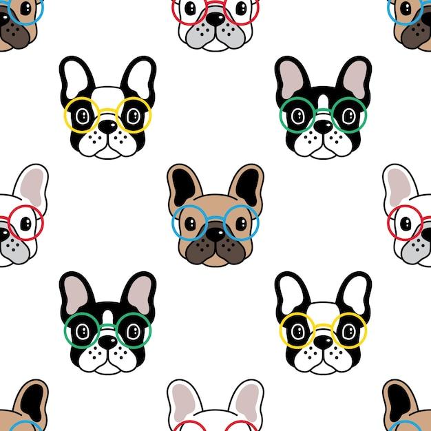Perro, seamless, patrón, bulldog francés, anteojos Vector Premium
