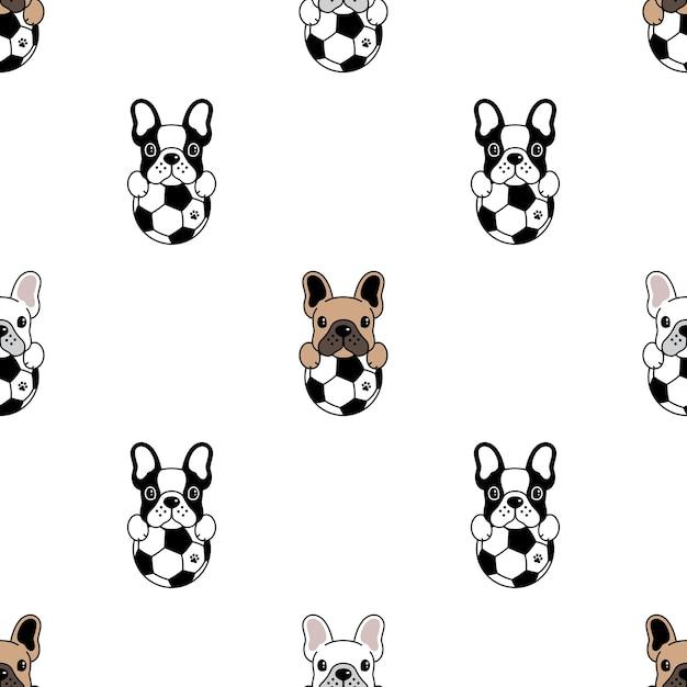 Perro, seamless, patrón, bulldog francés, fútbol, fútbol Vector Premium