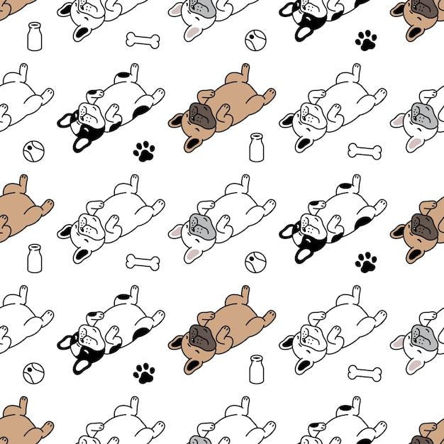 Perro, seamless, patrón, bulldog francés, hueso, huella, pelota, juguete Vector Premium