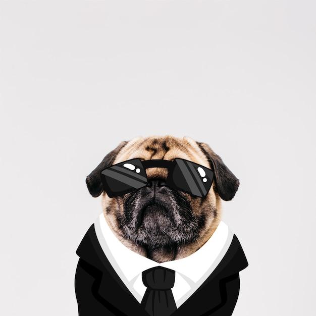 Perro con traje dibujado vector gratuito