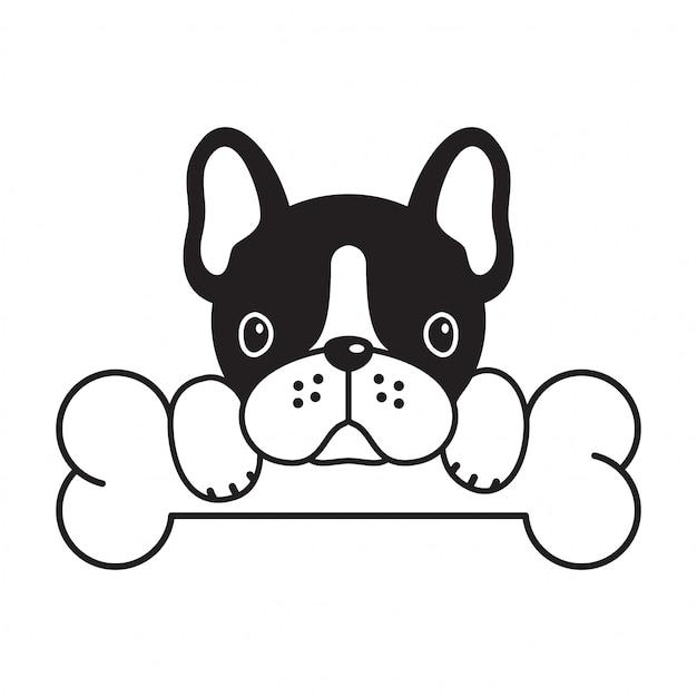 Perro vector bulldog francés hueso cachorro de dibujos animados Vector Premium