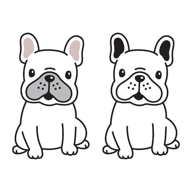 Perro vector bulldog francés icono logo cachorro personaje de dibujos animados Vector Premium
