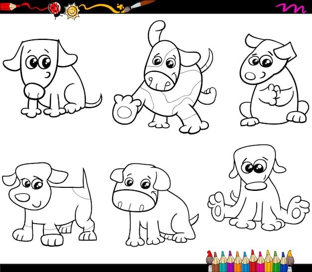 Perros colorean dibujos animados para colorear | Descargar Vectores ...