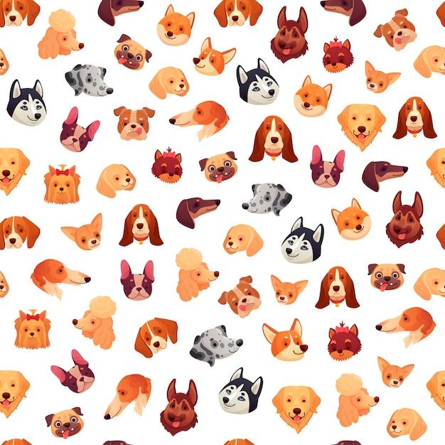 Perros sin costuras caras. cara de perro divertida, cabeza de mascota cachorro y patrón de grupo de animales Vector Premium