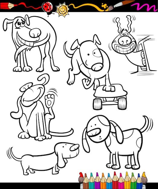 Perros de dibujos animados para colorear libro   Descargar Vectores ...