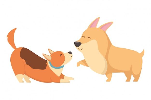 Perros de dibujos animados vector gratuito