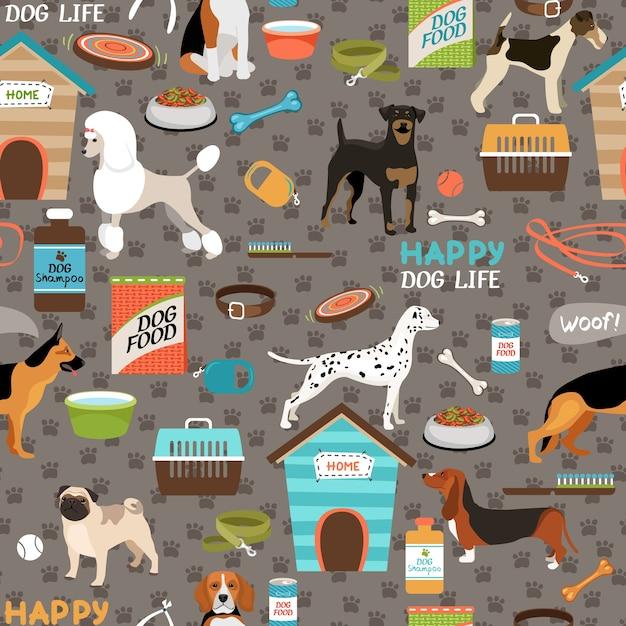 Perros de patrones sin fisuras con equipo vector gratuito