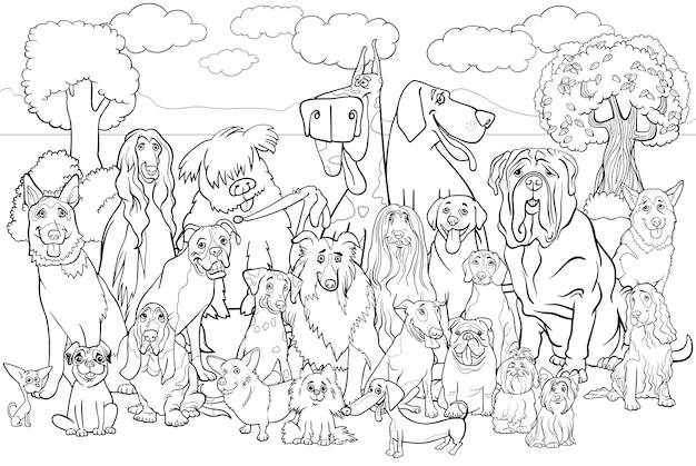 Perros De Pura Raza Para Colorear Libro Descargar Vectores Premium