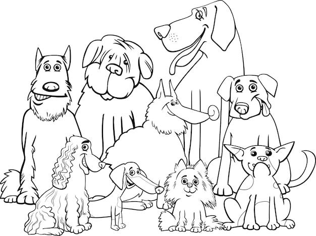 Perros De Pura Raza Para Colorear Descargar Vectores Premium