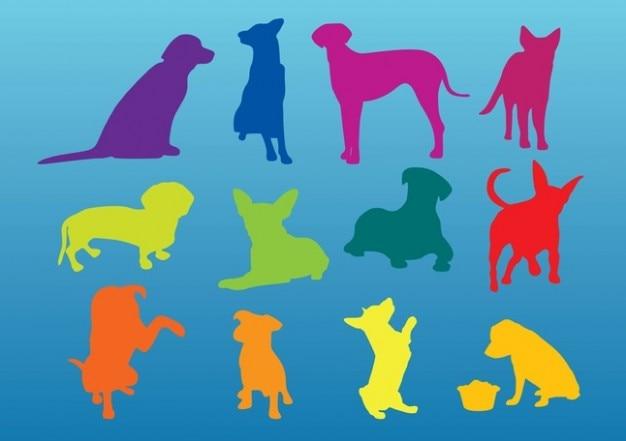 perros siluetas Vector Gratis
