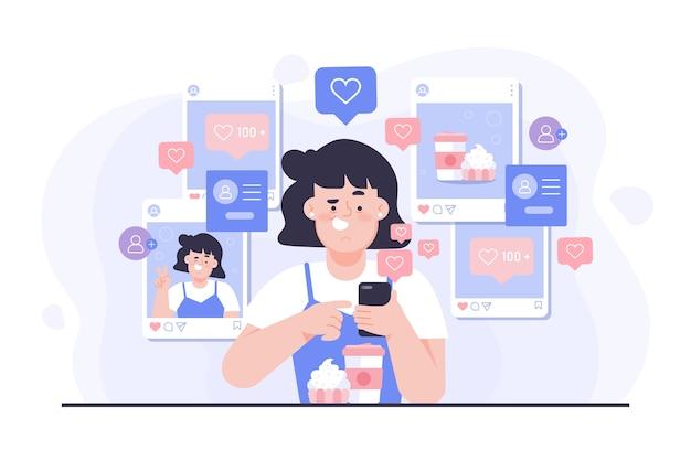 Una persona adicta a las redes sociales. vector gratuito