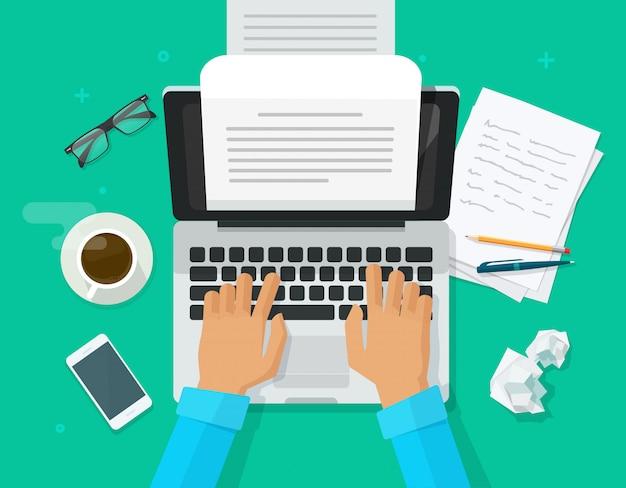 Persona de autor escribiendo contenido en documento de hoja de papel de computadora Vector Premium