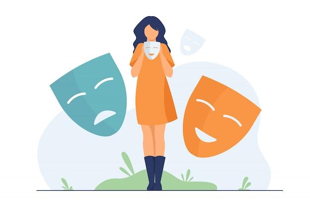 Persona cubriendo emociones, buscando identidad vector gratuito